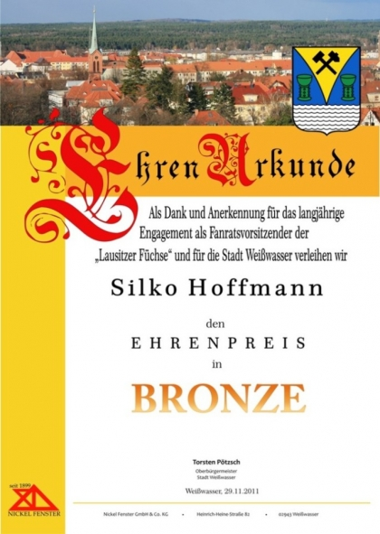 Urkunde in Bronze