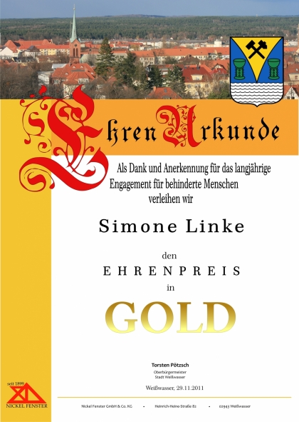 Urkunde in Gold